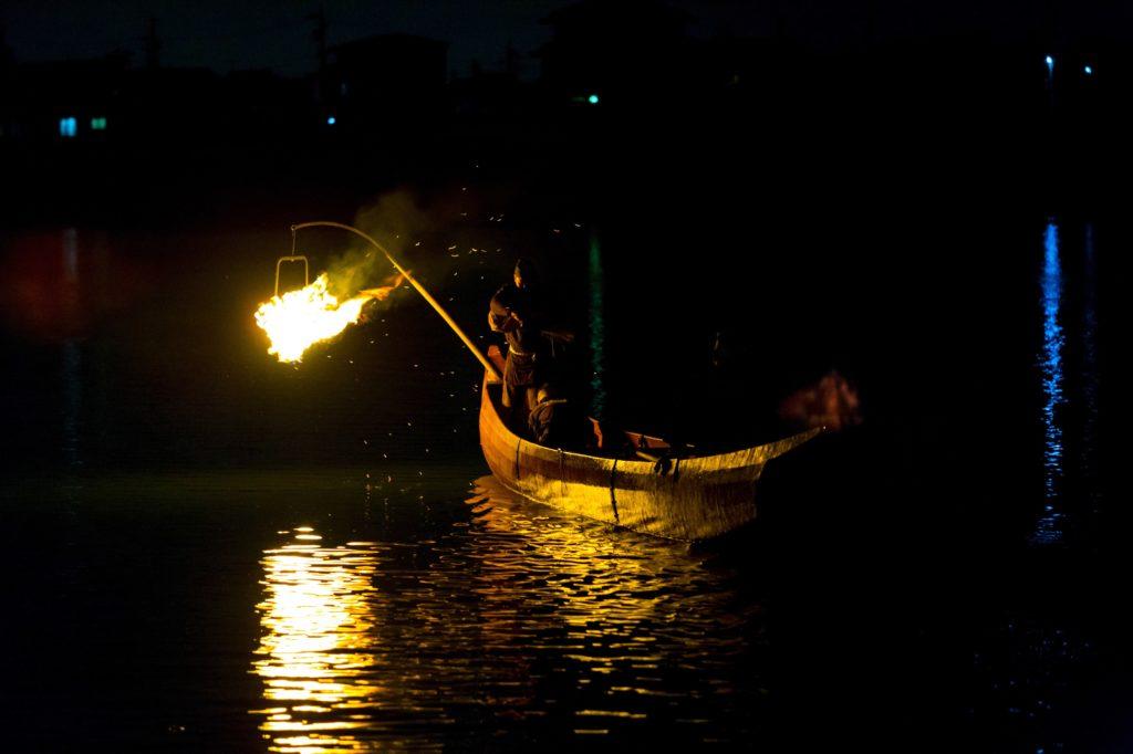 Ukai Fishing Demonstration Gifu River Night Fire